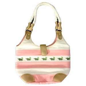 Handbags - Crocodile Pink Rugby Striped Nautical Rope Handbag